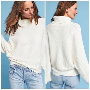 Moth by Anthropology Ribbed Cowl Ivory Sweater